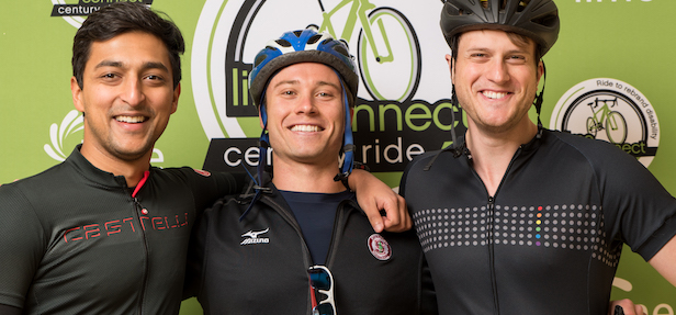 Riders take pictures in the 2018 Lime Connect Century Ride photo booth.